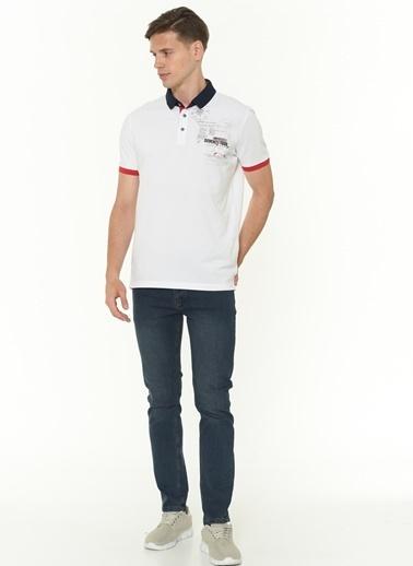 Dewberry Pamuklu Polo Yaka Kısa Kol Erkek Tişört Beyaz